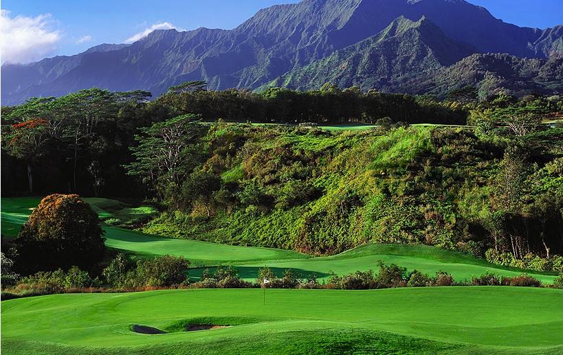 ハワイのカウアイ島のリゾートコース、プリンスヴィルゴルフクラブでラウンド♪